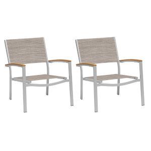 Travira Chat Chair - Powder Coated Aluminum Frame - Bellows Sling Seat - Tekwood Natural Armcaps - Set of 2