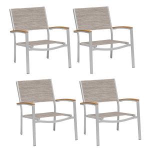 Travira Chat Chair - Powder Coated Aluminum Frame - Bellows Sling Seat - Tekwood Natural Armcaps - Set of 4