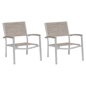 Travira Chat Chair - Powder Coated Aluminum Frame - Bellows Sling Seat - Tekwood Vintage Armcaps - Set of 2