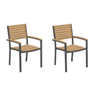 Travira Natural Tekwood Seat and Carbon Powder Coated Aluminum Frame Armchair , Set of Two
