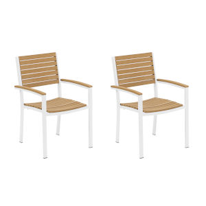 Travira Natural Tekwood Seat and Chalk Powder Coated Aluminum Frame Armchair , Set of Two
