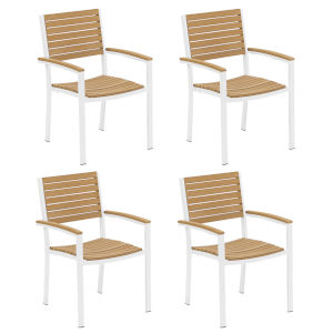 Travira Natural Tekwood Seat and Chalk Powder Coated Aluminum Frame Armchair , Set of Four