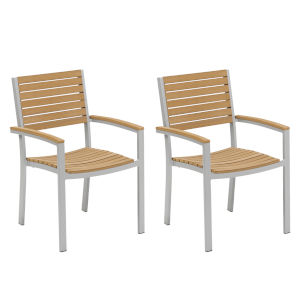 Travira Natural Tekwood Armchair, Set of Two