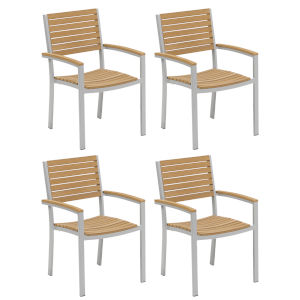 Travira Natural Tekwood Armchair, Set of Four
