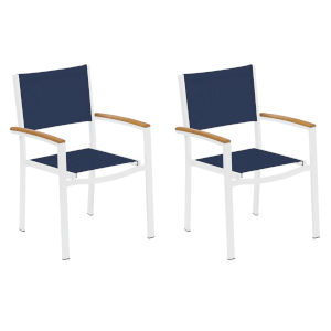 Travira Ink Pen Sling Natural Tekwood Armcaps and Chalk Powder Coated Aluminum Frame Armchair , Set of Two