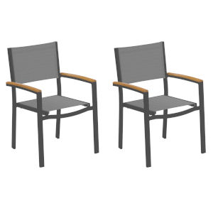 Travira Titanium Sling Natural Tekwood Armcaps and Carbon Powder Coated Aluminum Frame Armchair , Set of Two