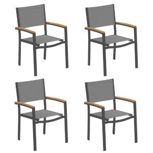 Travira Titanium Sling Natural Tekwood Armcaps and Carbon Powder Coated Aluminum Frame Armchair , Set of Four