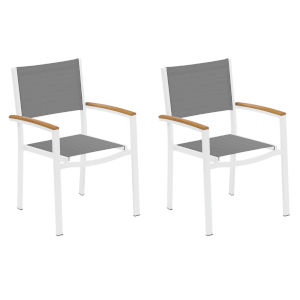 Travira Titanium Sling Natural Tekwood Armcaps and Chalk Powder Coated Aluminum Frame Armchair , Set of Two