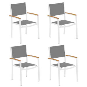 Travira Titanium Sling Natural Tekwood Armcaps and Chalk Powder Coated Aluminum Frame Armchair , Set of Four