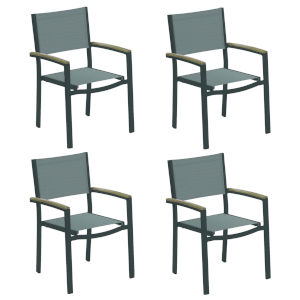 Travira Titanium Sling Vintage Tekwood Armcaps and Carbon Powder Coated Aluminum Frame Armchair , Set of Four