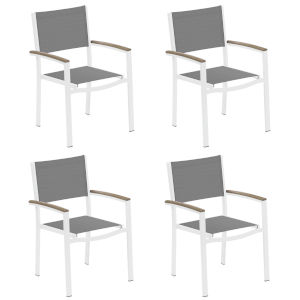 Travira Titanium Sling Vintage Tekwood Armcaps and Chalk Powder Coated Aluminum Frame Armchair , Set of Four