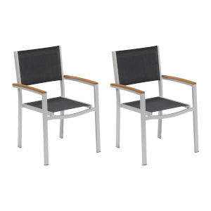 Travira Black Sling Armchair with Natural Tekwood Armcaps, Set of Two