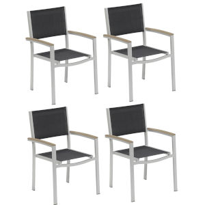 Travira Black Sling Armchair with Vintage Tekwood Armcaps, Set of Four