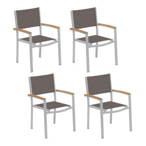 Travira Cocoa Sling Armchair Chair - Set of 4