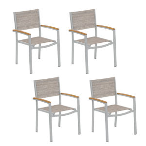 Travira Sling Armchair - Powder Coated Aluminum Frame - Bellows - Tekwood Natural Armcaps - Set of 4
