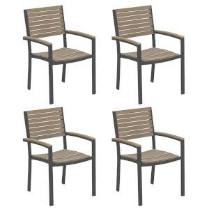 Travira Vintage Tekwood Seat and Carbon Powder Coated Aluminum Frame Armchair , Set of Four