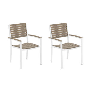 Travira Vintage Tekwood Seat and Chalk Powder Coated Aluminum Frame Armchair , Set of Two