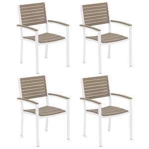 Travira Vintage Tekwood Seat and Chalk Powder Coated Aluminum Frame Armchair , Set of Four
