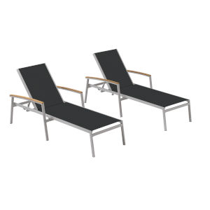 Travira Black Sling Chaise Lounge with Natural Tekwood Armcaps, Set of Two
