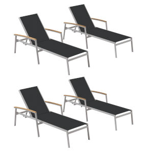 Travira Black Sling Chaise Lounge with Natural Tekwood Armcaps, Set of Four