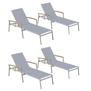 Travira Slate Sling Chaise Lounge - Set of 4