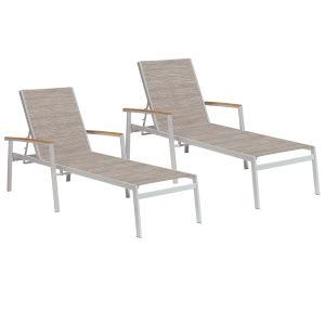 Travira Chaise Lounge - Powder Coated Aluminum Frame - Bellows Sling - Tekwood Natural Armcaps - Set of 2