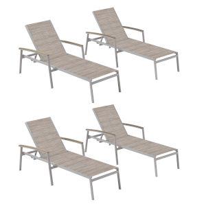 Travira Chaise Lounge - Powder Coated Aluminum Frame - Bellows Sling - Tekwood Vintage Armcaps  - Set of 4