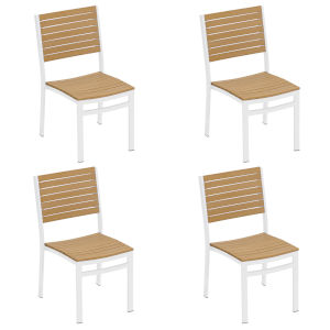 Travira Natural Tekwood Seat and Chalk Powder Coated Aluminum Frame Side Chair , Set of Four