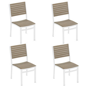 Travira Vintage Tekwood Seat and Carbon Powder Coated Aluminum Frame Side Chair , Set of Four