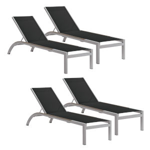 Argento Armless Chaise Lounge - Powder Coated Aluminum Frame - Black Sling - Tekwood Natural Side Rails - Set of 4