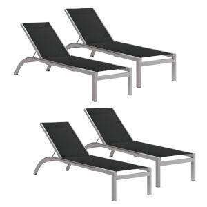 Argento Armless Chaise Lounge - Powder Coated Aluminum Frame - Black Sling - Argento Side Rails - Set of 4