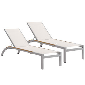 Argento Armless Chaise Lounge - Powder Coated Aluminum Frame - Natural Sling - Tekwood Natural Side Rails - Set of 2
