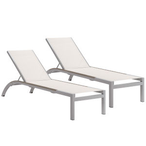 Argento Armless Chaise Lounge - Powder Coated Aluminum Frame - Natural Sling - Tekwood Vintage Side Rails - Set of 2