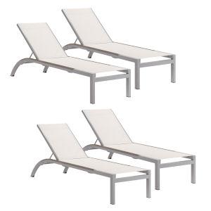 Argento Armless Chaise Lounge - Powder Coated Aluminum Frame - Natural Sling - Tekwood Vintage Side Rails - Set of 4