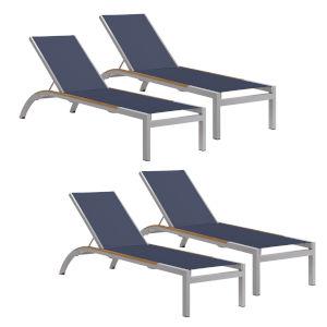 Argento Armless Chaise Lounge - Powder Coated Aluminum Frame - Ink Pen Sling - Tekwood Natural Side Rails - Set of 4