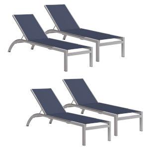 Argento Armless Chaise Lounge - Powder Coated Aluminum Frame - Ink Pen Sling - Argento Side Rails - Set of 4