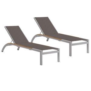Argento Armless Chaise Lounge - Powder Coated Aluminum Frame - Cocoa Sling - Tekwood Natural Side Rails - Set of 2