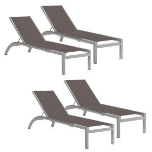 Argento Armless Chaise Lounge - Powder Coated Aluminum Frame - Cocoa Sling - Argento Side Rails - Set of 4