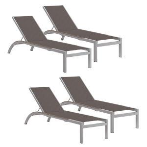 Argento Armless Chaise Lounge - Powder Coated Aluminum Frame - Cocoa Sling - Tekwood Vintage Side Rails - Set of 4
