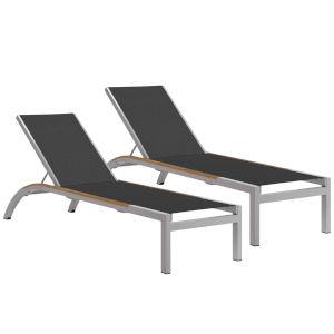 Argento Armless Chaise Lounge - Powder Coated Aluminum Frame - Ninja Sling - Tekwood Natural Side Rails - Set of 2