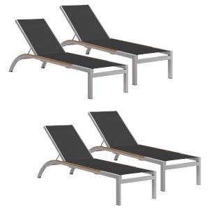 Argento Armless Chaise Lounge - Powder Coated Aluminum Frame - Ninja Sling - Tekwood Natural Side Rails - Set of 4