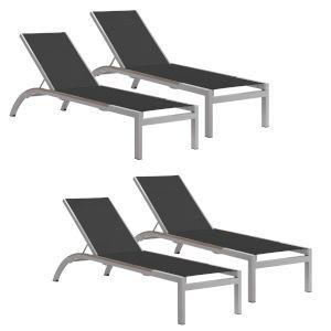 Argento Armless Chaise Lounge - Powder Coated Aluminum Frame - Ninja Sling - Tekwood Vintage Side Rails - Set of 4