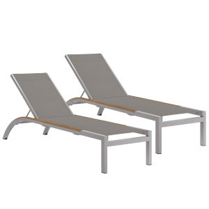 Argento Armless Chaise Lounge - Powder Coated Aluminum Frame - Titanium Sling - Tekwood Natural Side Rails - Set of 2