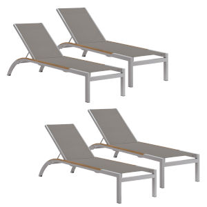 Argento Armless Chaise Lounge - Powder Coated Aluminum Frame - Titanium Sling - Tekwood Natural Side Rails - Set of 4