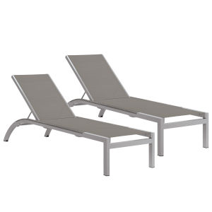 Argento Armless Chaise Lounge - Powder Coated Aluminum Frame - Titanium Sling - Argento Side Rails - Set of 2