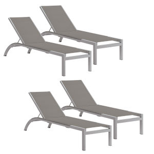 Argento Armless Chaise Lounge - Powder Coated Aluminum Frame - Titanium Sling - Argento Side Rails - Set of 4