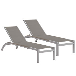 Argento Armless Chaise Lounge - Powder Coated Aluminum Frame - Titanium Sling - Tekwood Vintage Side Rails - Set of 2