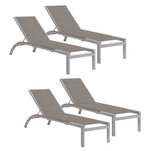 Argento Armless Chaise Lounge - Powder Coated Aluminum Frame - Titanium Sling - Tekwood Vintage Side Rails - Set of 4