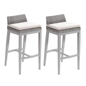 Argento Bar Stool - Argento Resin Wicker - Powder Coated Aluminum Legs - Eggshell White Polyester Cushion - Set of 2