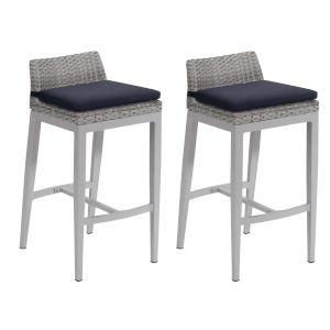 Argento Bar Stool - Argento Resin Wicker - Powder Coated Aluminum Legs - Midnight Blue Polyester Cushion - Set of 2